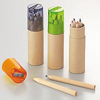 シャープナー付き色鉛筆6Pの画像