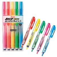 ノック式ハンディラインS(蛍光ペン)5色セットの画像